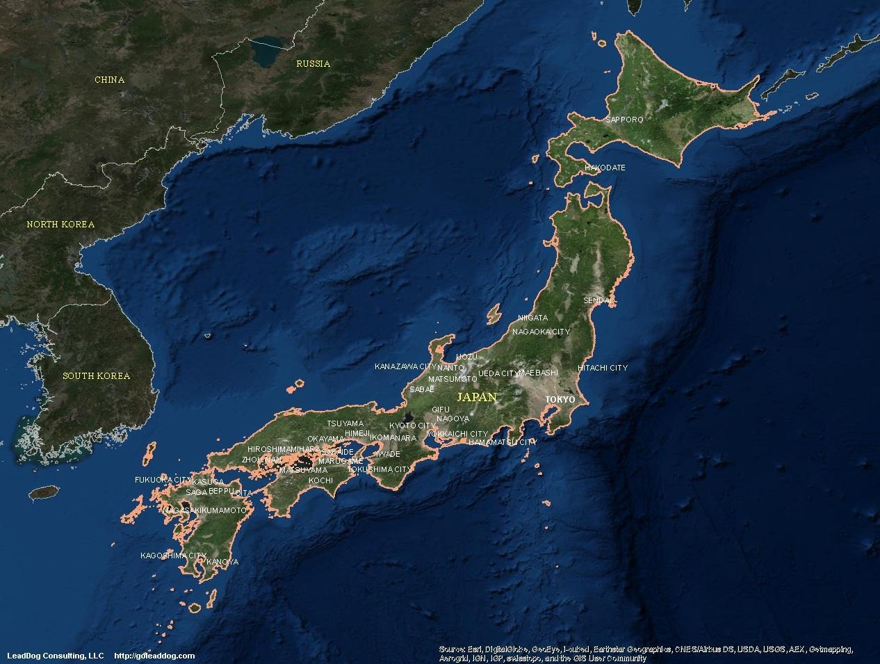 日本地图,卫星的卫星地图的日本 东亚 亚洲